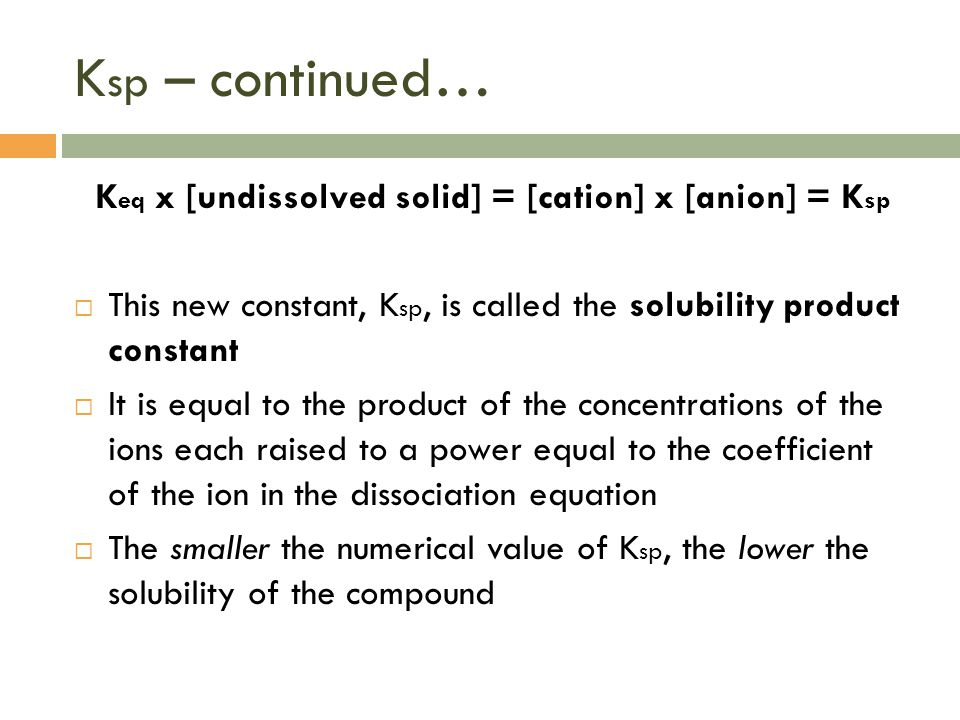 Keq x [undissolved solid] = [cation] x [anion] = Ksp